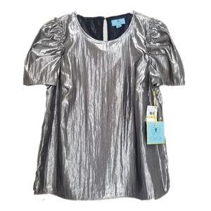 CeCe Metallic Gold Silver Puff Sleeve Top Size M